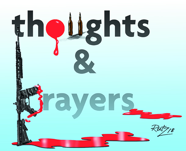 image by rutz depicting words thoughts and prayers covered in blood