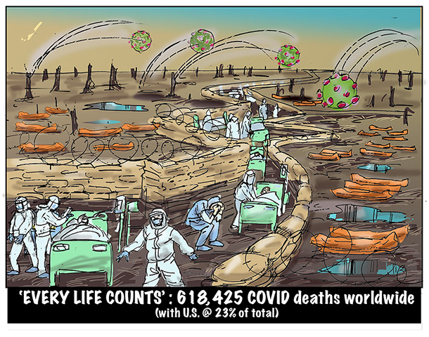 cartoon depicting a recreated scene from the first world war trenches with incoming virus missles and patients, healthcare workers and bodybags through the broken landscape